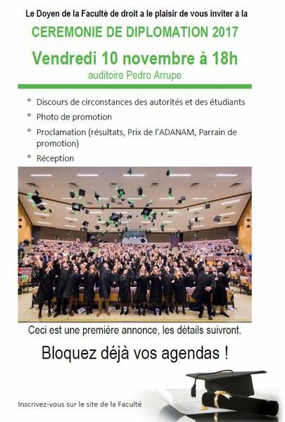 Cérémonie de diplomation - Faculté de droit - vendredi 10 novembre 2017