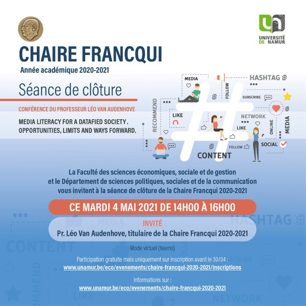 Chaire Francqui 2021 - Leçon de clôture : Media Literacy for a Datafied Society. Opportunities, limits and ways forward.